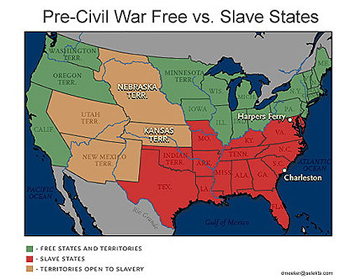 on the pre civil war map the red areas were slave states and the brown areas were territories open to slavery while the green areas were free